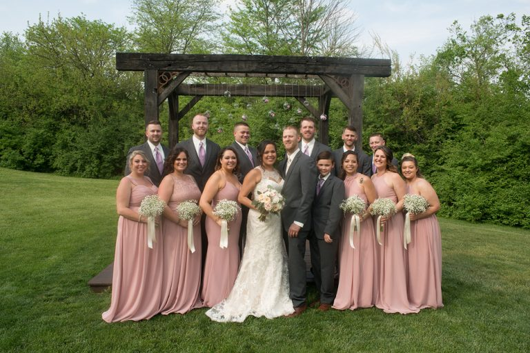 bridal party formal photo outdoors at the Ohio Barn