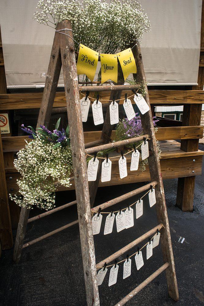 wedding guest chart on hanging rack